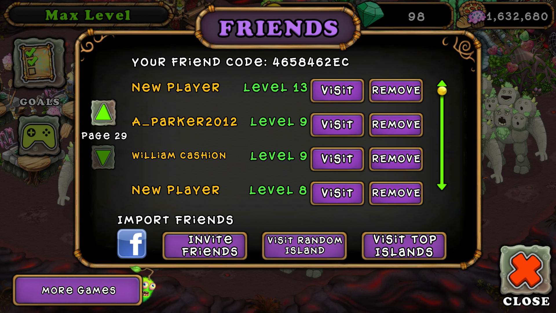 My Singing Monsters Friend Codes